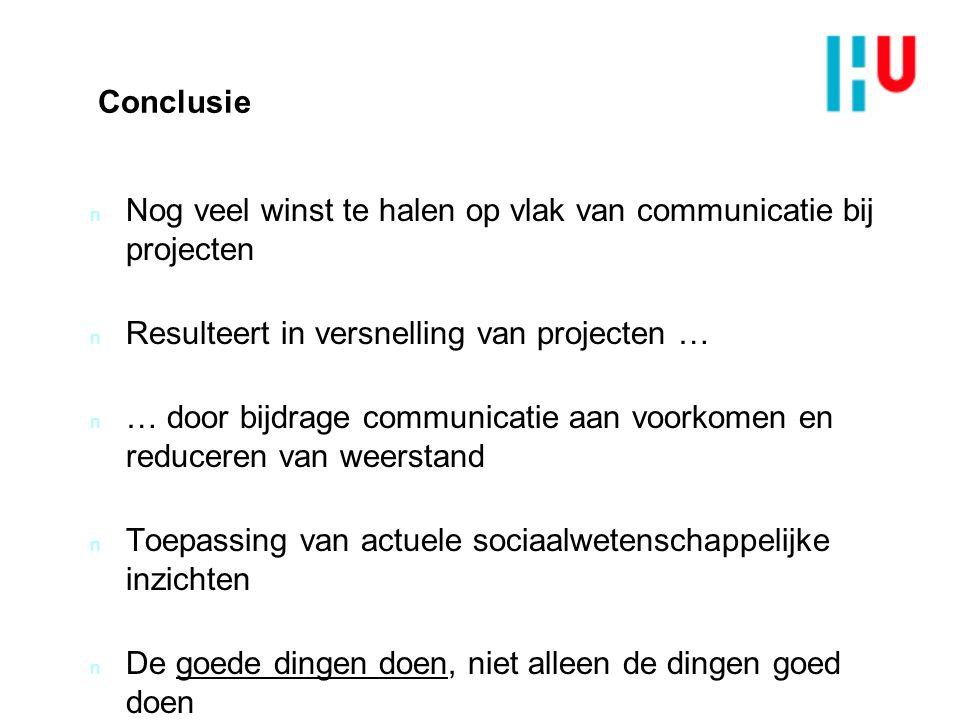 Conclusie Nog veel winst te halen op vlak van communicatie bij projecten. Resulteert in versnelling van projecten …