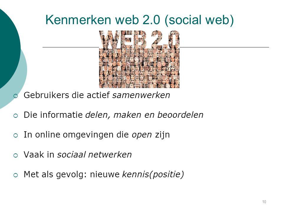 Kenmerken web 2.0 (social web)