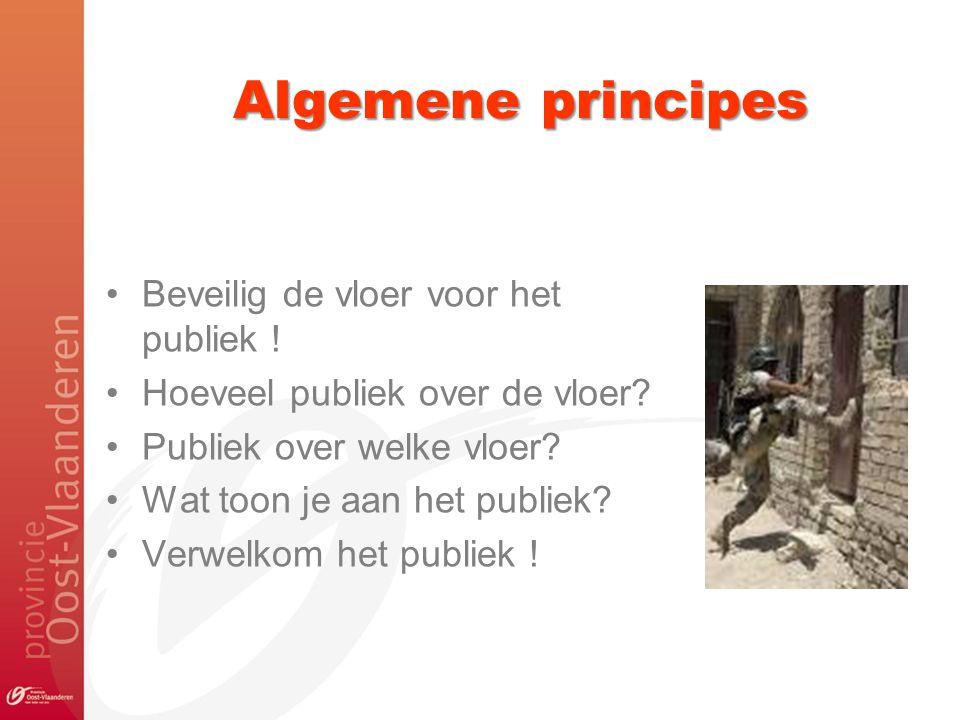 Algemene principes Beveilig de vloer voor het publiek !