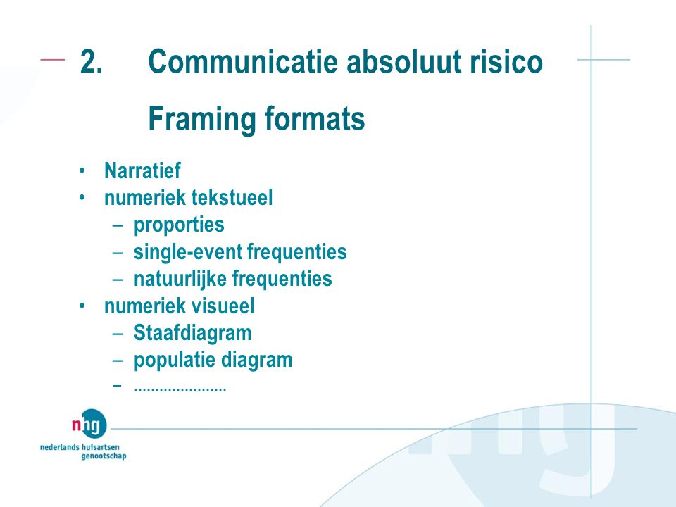 2. Communicatie absoluut risico Framing formats