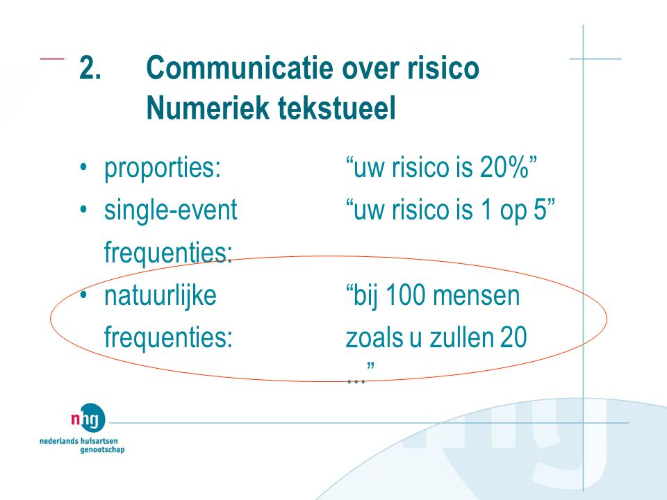 2. Communicatie over risico Numeriek tekstueel