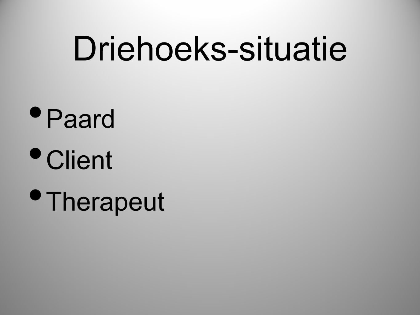 Driehoeks-situatie Paard Client Therapeut
