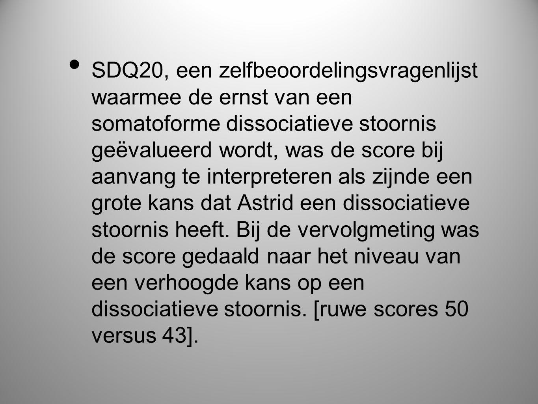 SDQ20, een zelfbeoordelingsvragenlijst waarmee de ernst van een somatoforme dissociatieve stoornis geëvalueerd wordt, was de score bij aanvang te interpreteren als zijnde een grote kans dat Astrid een dissociatieve stoornis heeft.