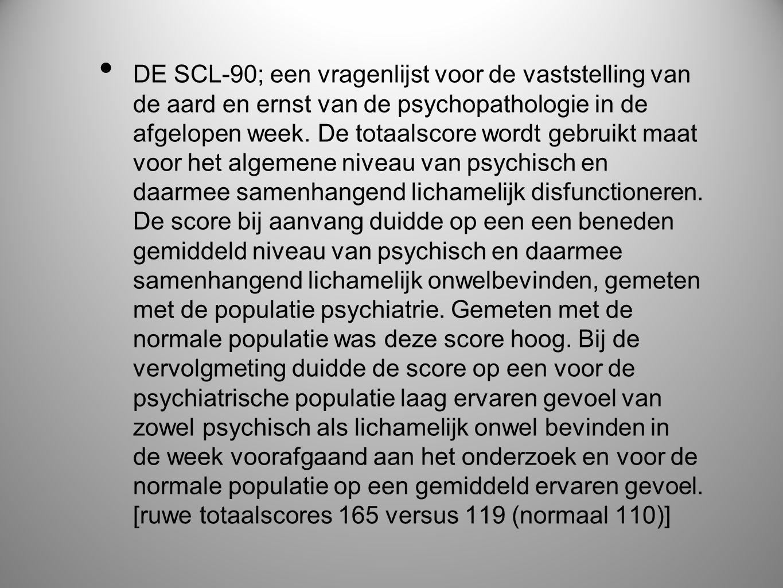 DE SCL-90; een vragenlijst voor de vaststelling van de aard en ernst van de psychopathologie in de afgelopen week.