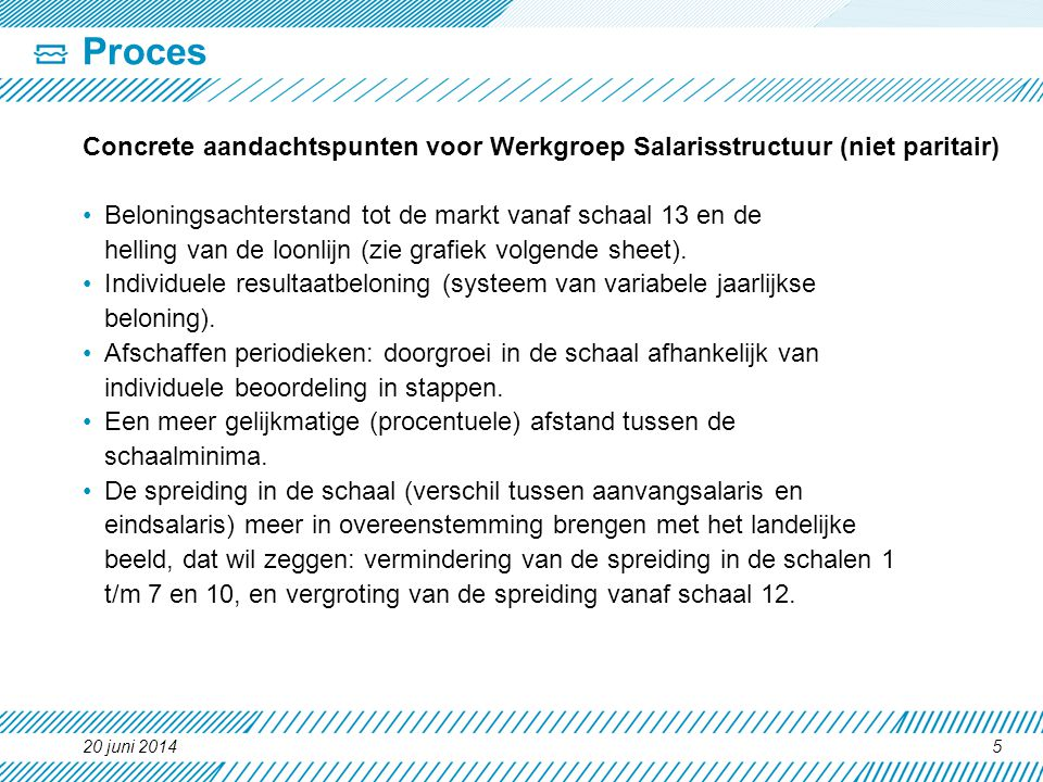 Proces Concrete aandachtspunten voor Werkgroep Salarisstructuur (niet paritair) Beloningsachterstand tot de markt vanaf schaal 13 en de.