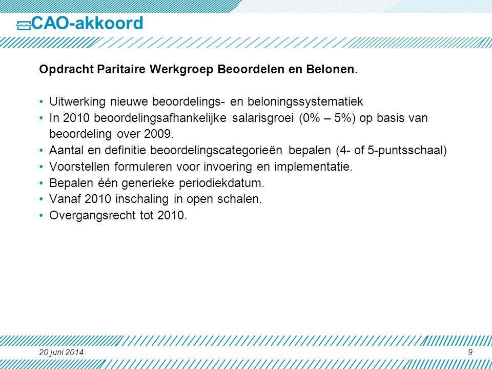 CAO-akkoord Opdracht Paritaire Werkgroep Beoordelen en Belonen.