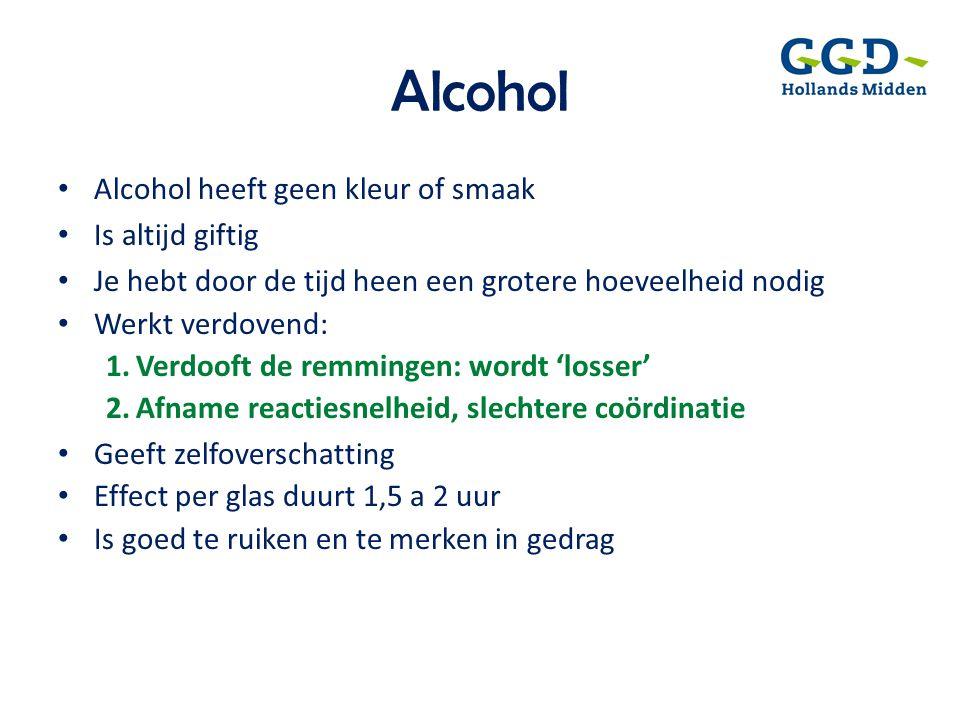 Alcohol Alcohol heeft geen kleur of smaak Is altijd giftig