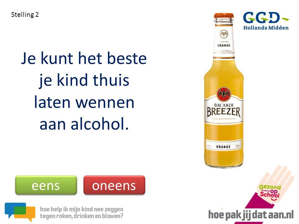 Je kunt het beste je kind thuis laten wennen aan alcohol.