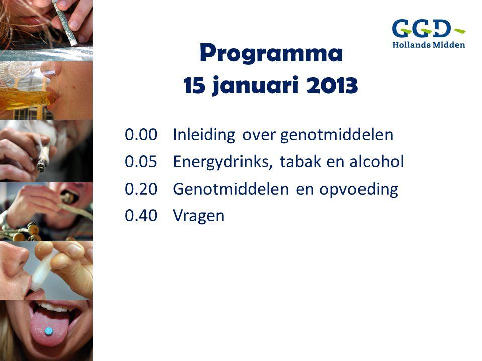 Programma 15 januari 2013 0.00 Inleiding over genotmiddelen