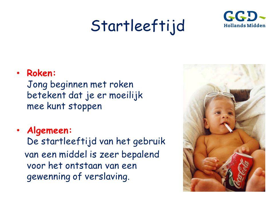Startleeftijd Roken: Jong beginnen met roken betekent dat je er moeilijk mee kunt stoppen. Algemeen: De startleeftijd van het gebruik.