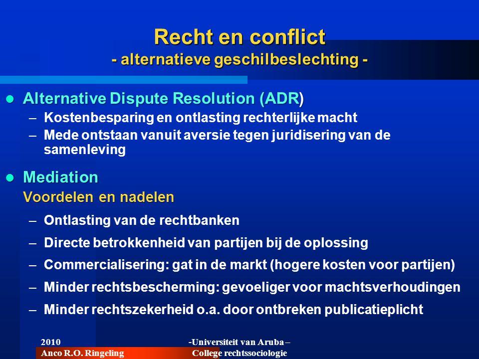 Recht en conflict - alternatieve geschilbeslechting -