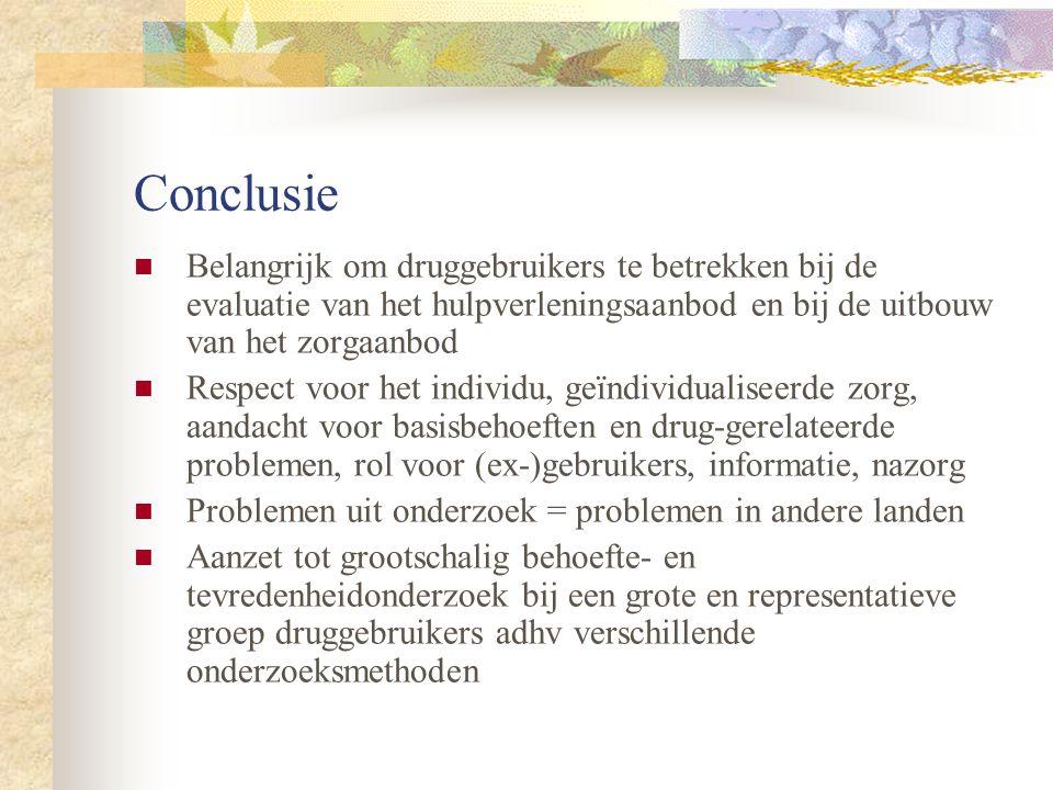 Conclusie Belangrijk om druggebruikers te betrekken bij de evaluatie van het hulpverleningsaanbod en bij de uitbouw van het zorgaanbod.