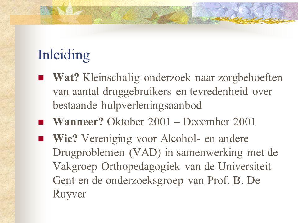 Inleiding Wat Kleinschalig onderzoek naar zorgbehoeften van aantal druggebruikers en tevredenheid over bestaande hulpverleningsaanbod.