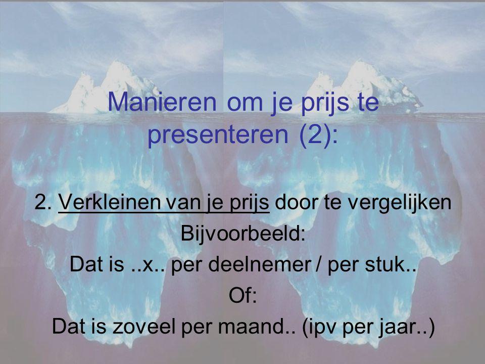 Manieren om je prijs te presenteren (2):