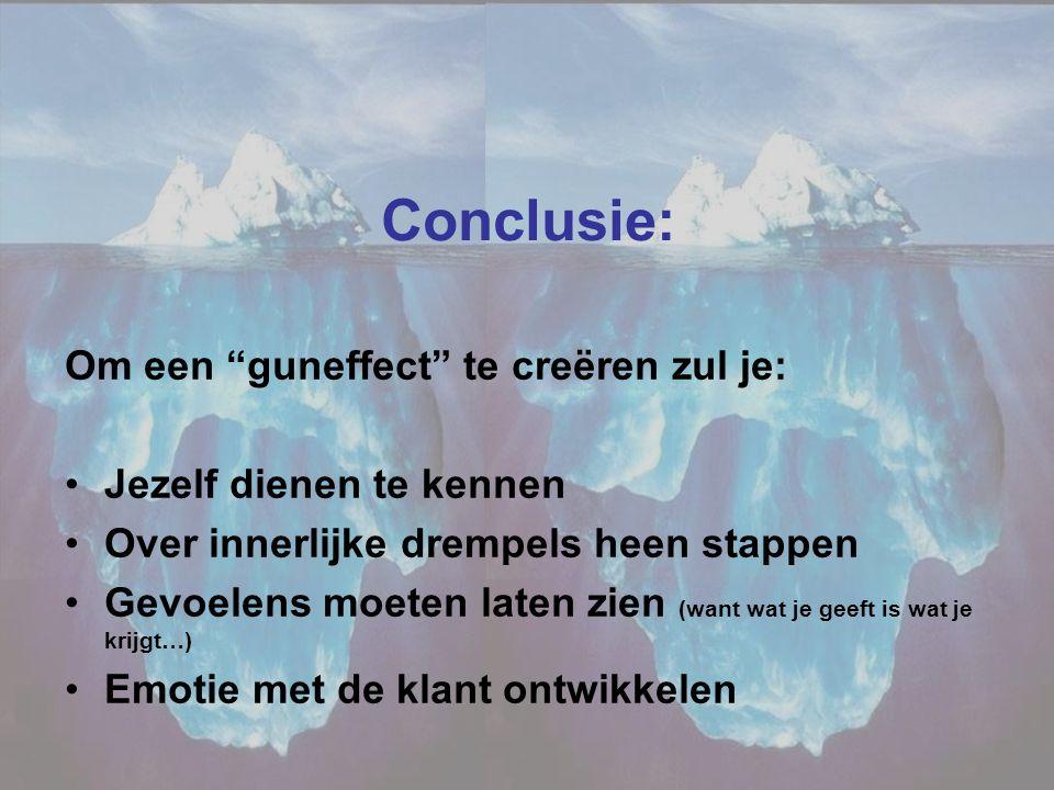 Conclusie: Om een guneffect te creëren zul je: