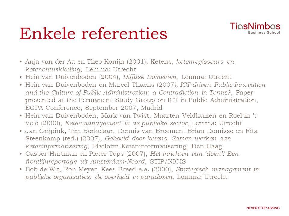 Enkele referenties Anja van der Aa en Theo Konijn (2001), Ketens, ketenregisseurs en ketenontwikkeling, Lemma: Utrecht.