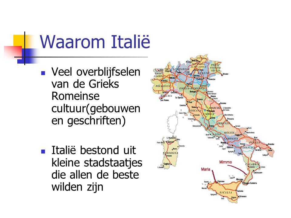 Waarom Italië Veel overblijfselen van de Grieks Romeinse cultuur(gebouwen en geschriften)