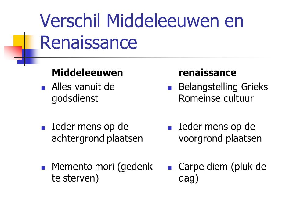 Verschil Middeleeuwen en Renaissance
