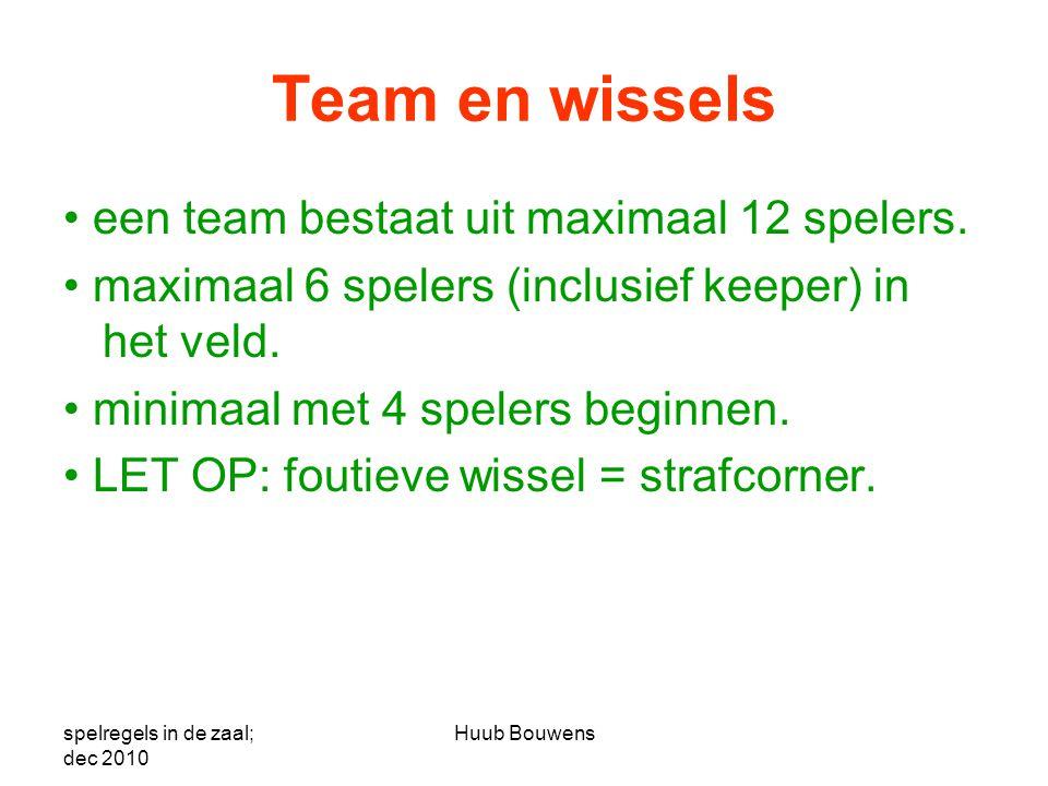 Team en wissels • een team bestaat uit maximaal 12 spelers.