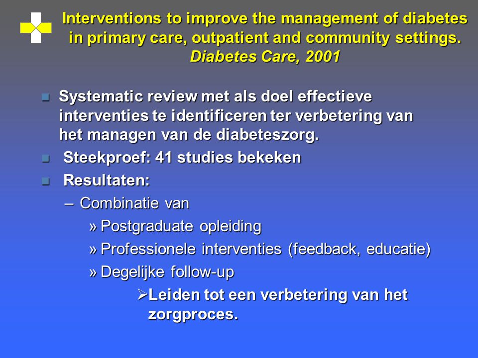 Interventions to improve the management of diabetes in primary care, outpatient and community settings. Diabetes Care, 2001