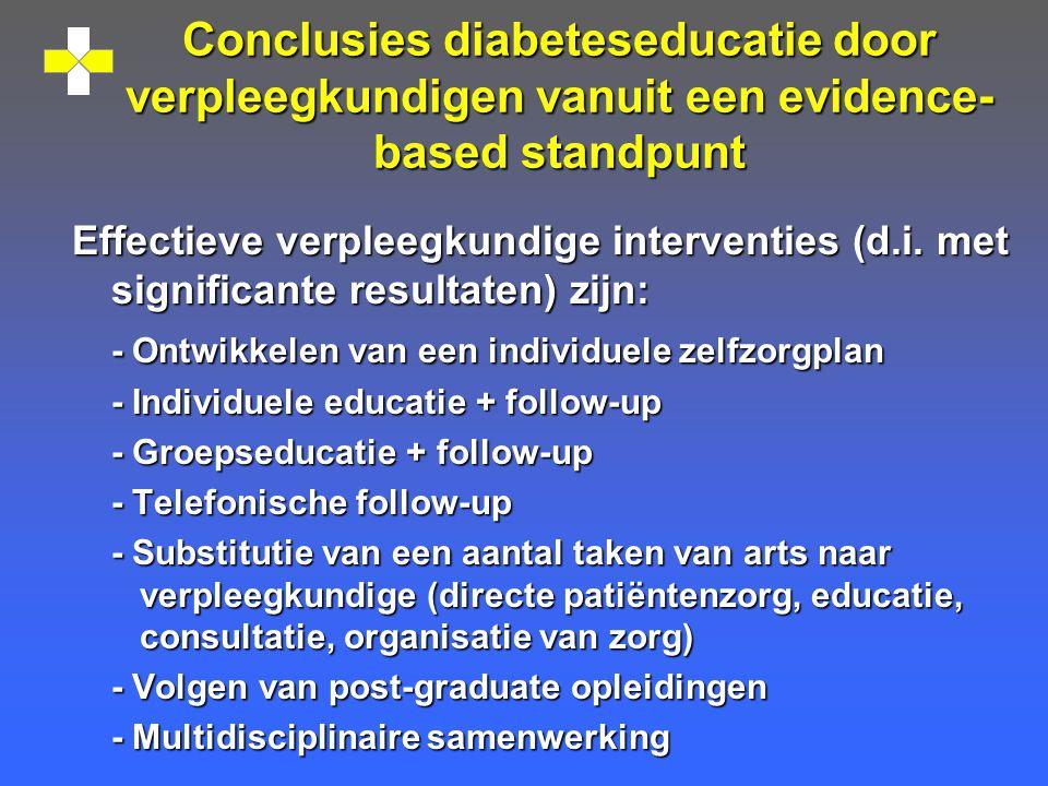 Conclusies diabeteseducatie door verpleegkundigen vanuit een evidence-based standpunt