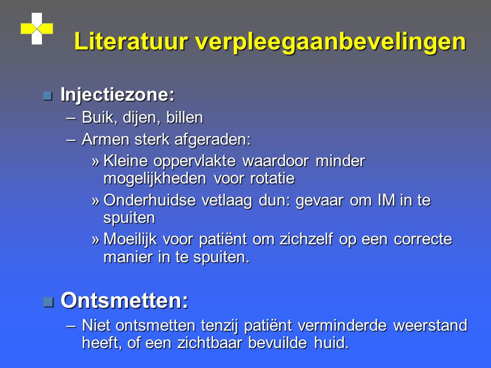 Literatuur verpleegaanbevelingen