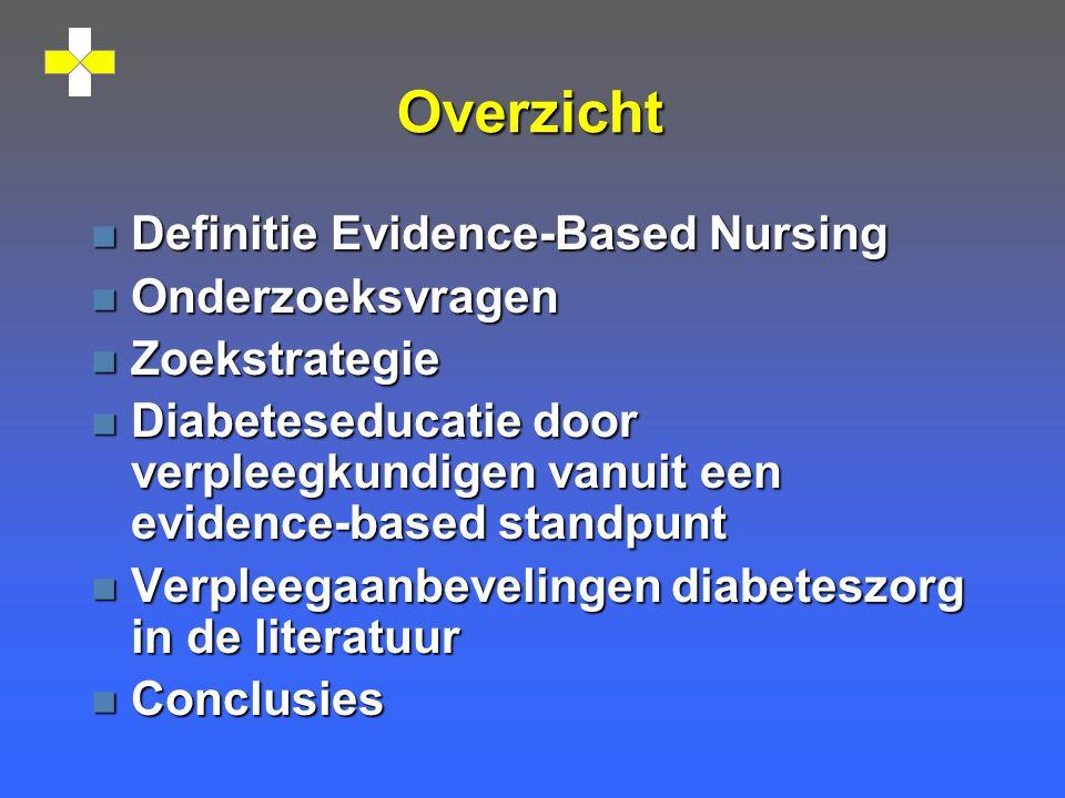 Overzicht Definitie Evidence-Based Nursing Onderzoeksvragen