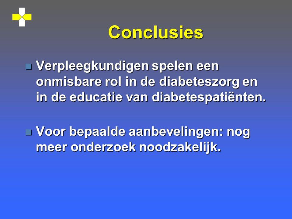Conclusies Verpleegkundigen spelen een onmisbare rol in de diabeteszorg en in de educatie van diabetespatiënten.