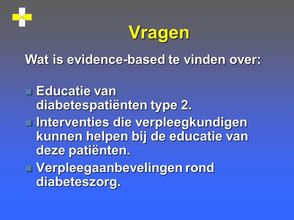 Vragen Wat is evidence-based te vinden over: