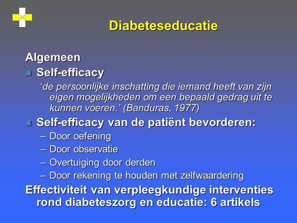 Diabeteseducatie Algemeen Self-efficacy