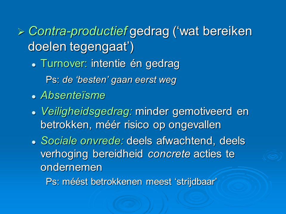 Contra-productief gedrag ('wat bereiken doelen tegengaat')