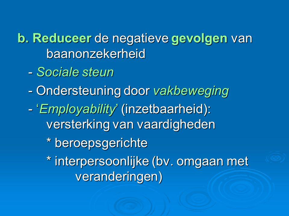 b. Reduceer de negatieve gevolgen van baanonzekerheid