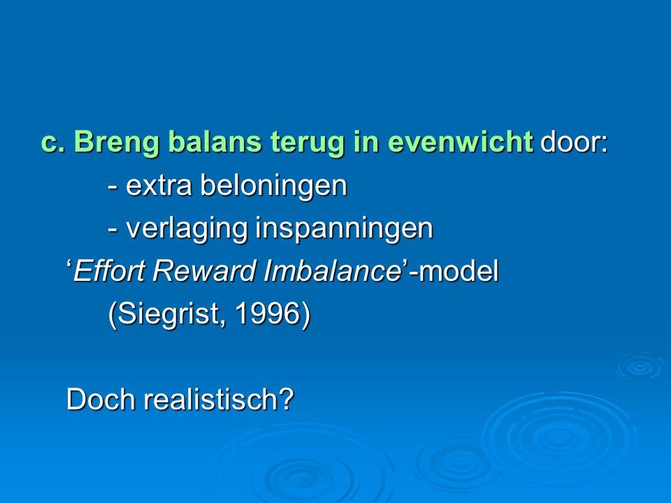 c. Breng balans terug in evenwicht door:
