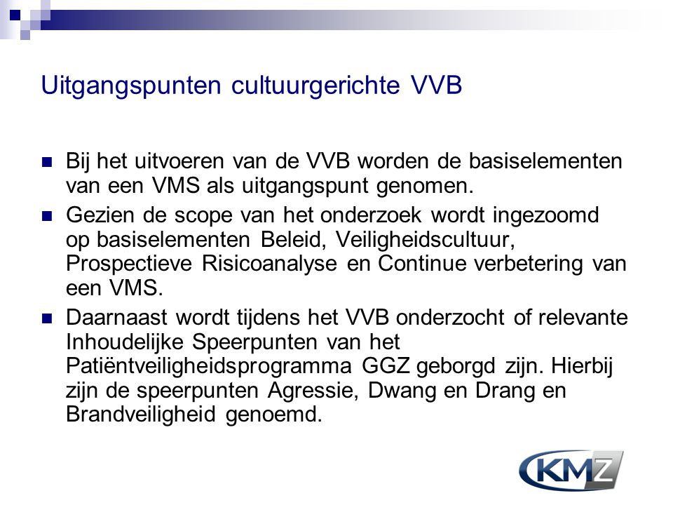 Uitgangspunten cultuurgerichte VVB