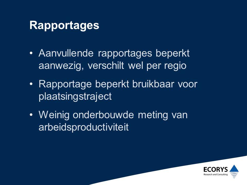 Rapportages Aanvullende rapportages beperkt aanwezig, verschilt wel per regio. Rapportage beperkt bruikbaar voor plaatsingstraject.