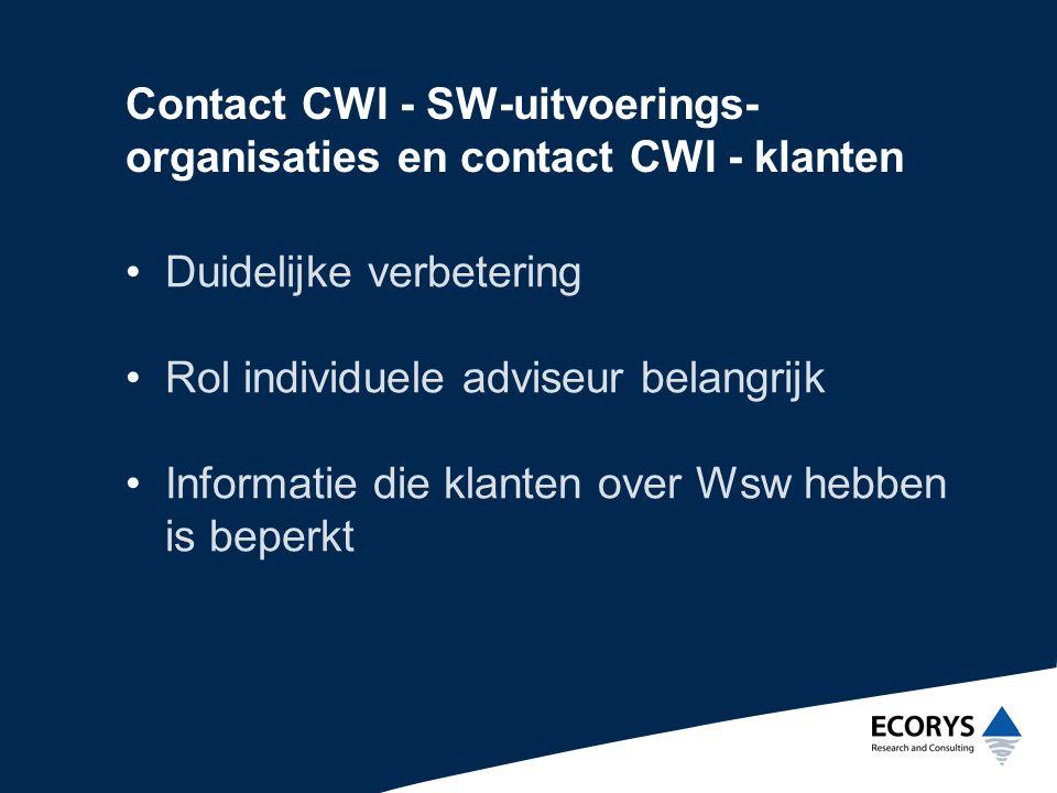 Contact CWI - SW-uitvoerings-organisaties en contact CWI - klanten
