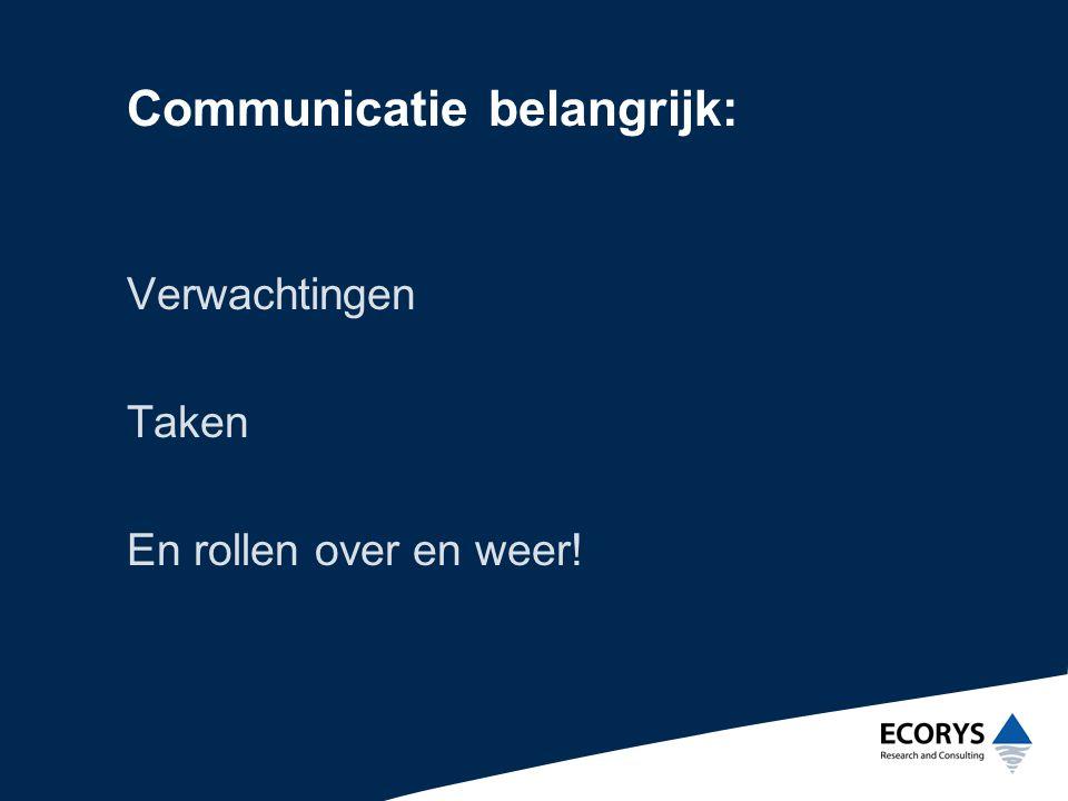 Communicatie belangrijk: