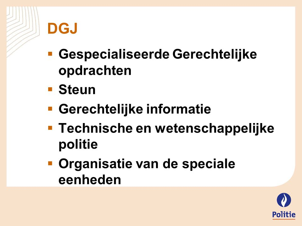 DGJ Gespecialiseerde Gerechtelijke opdrachten Steun