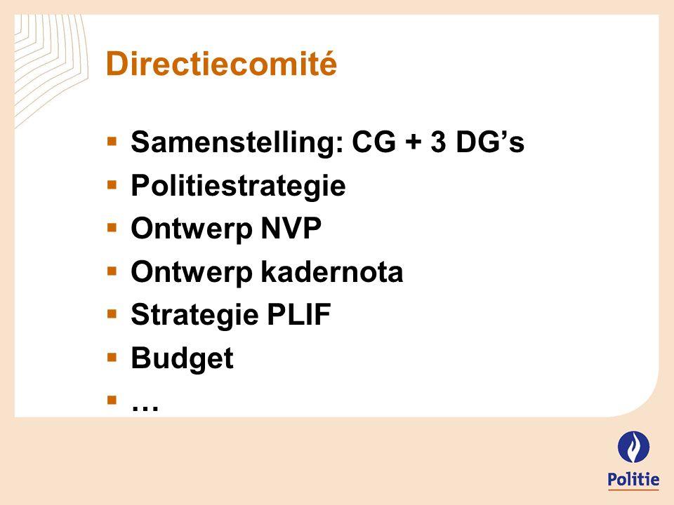 Directiecomité Samenstelling: CG + 3 DG's Politiestrategie Ontwerp NVP