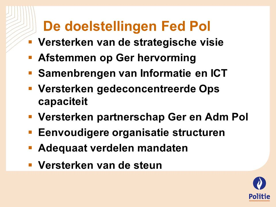 De doelstellingen Fed Pol
