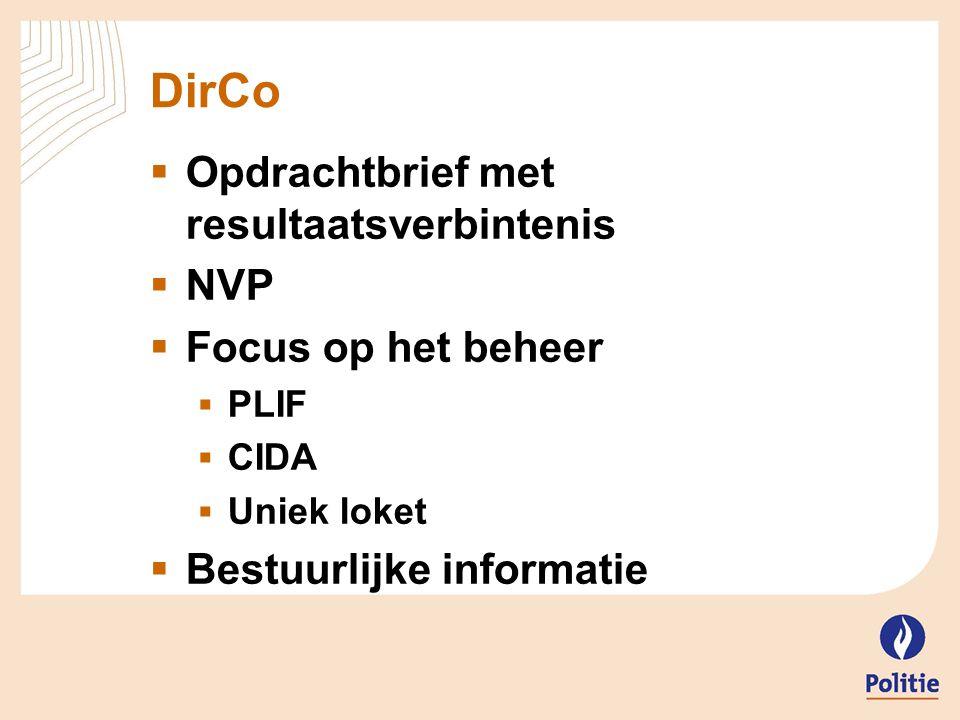 DirCo Opdrachtbrief met resultaatsverbintenis NVP Focus op het beheer