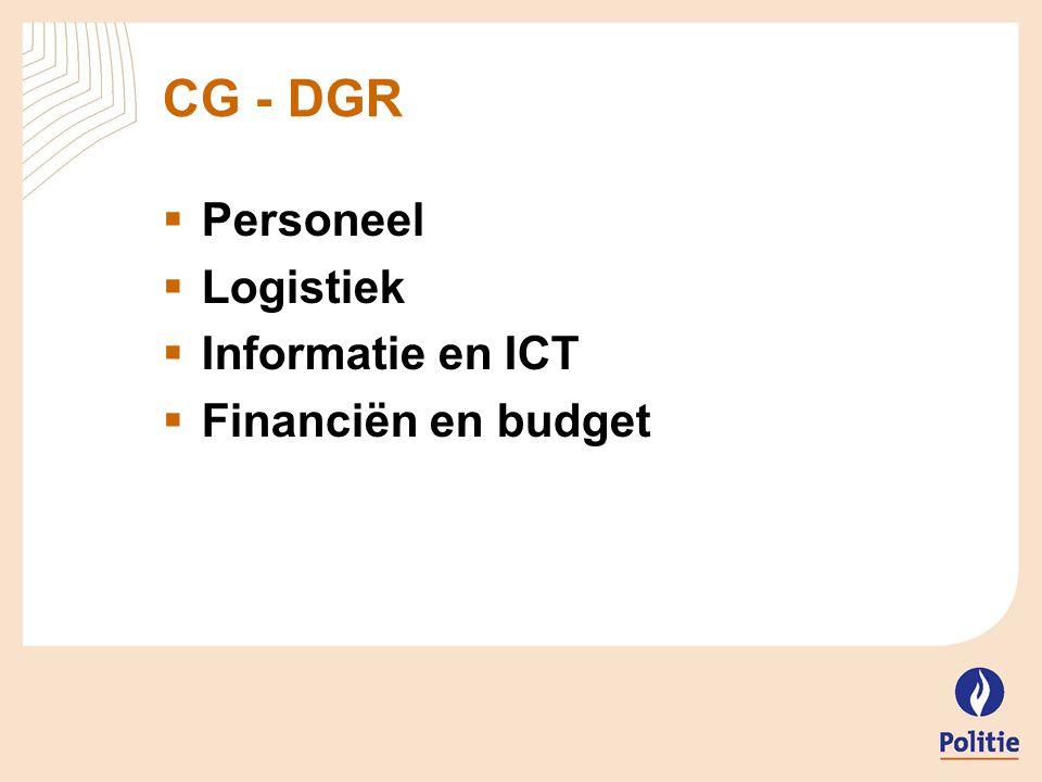 CG - DGR Personeel Logistiek Informatie en ICT Financiën en budget