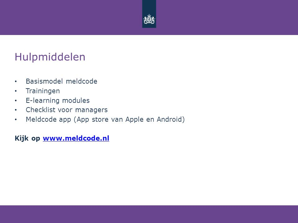 Hulpmiddelen Basismodel meldcode Trainingen E-learning modules