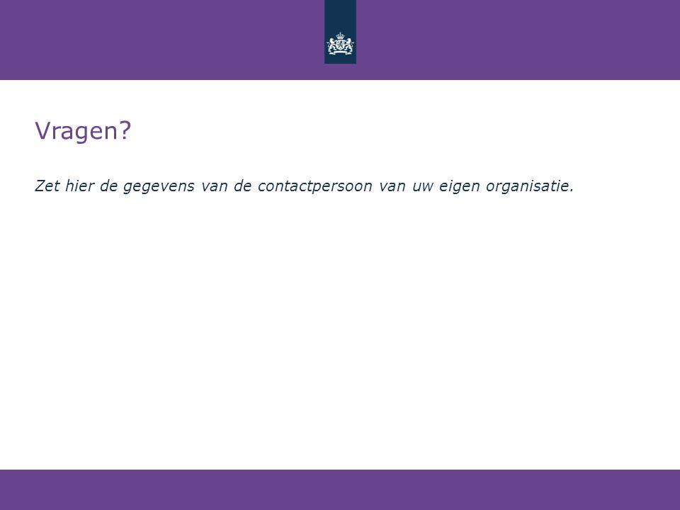 Vragen Zet hier de gegevens van de contactpersoon van uw eigen organisatie.
