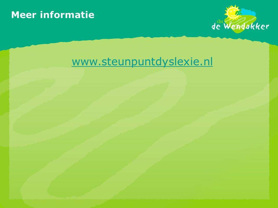 Meer informatie www.steunpuntdyslexie.nl