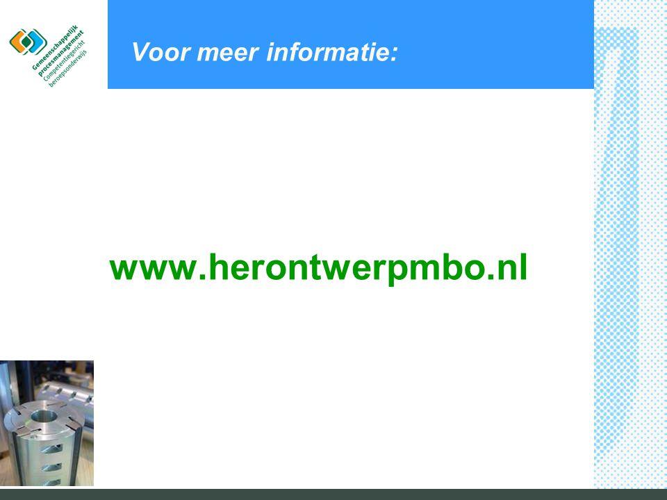 Voor meer informatie: www.herontwerpmbo.nl © M&I/PARTNERS