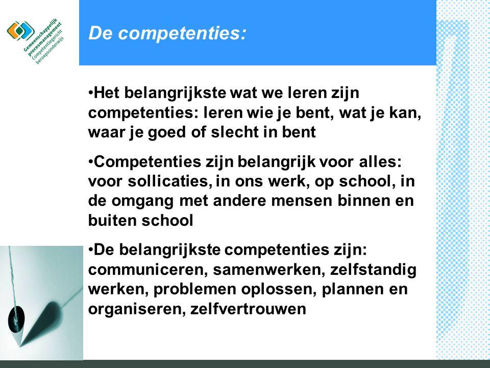 De competenties: Het belangrijkste wat we leren zijn competenties: leren wie je bent, wat je kan, waar je goed of slecht in bent.