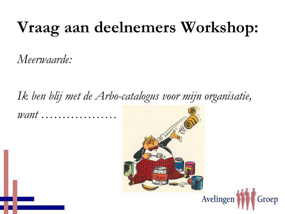Vraag aan deelnemers Workshop: