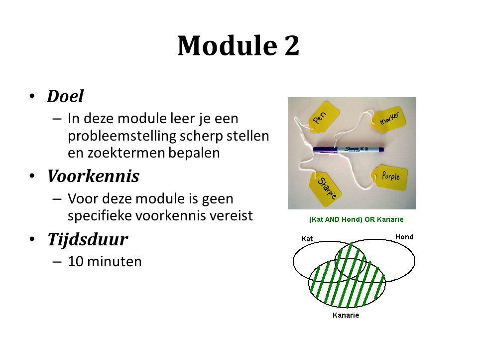 Module 2 Doel Voorkennis Tijdsduur