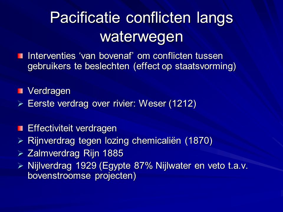 Pacificatie conflicten langs waterwegen